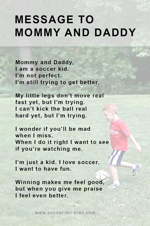 Message to soccer parents from kid
