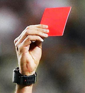 referee giving red card