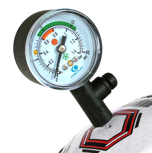 soccer ball and pressure gauge