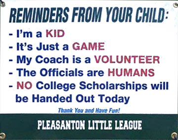 Youth soccer game sign